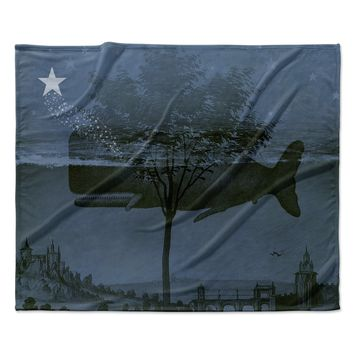 "Suzanne Carter ""Whale Watch"" Blue Illustration Fleece Throw Blanket"