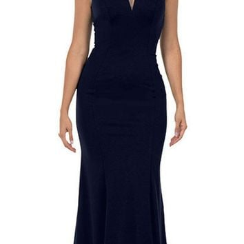 Cap Sleeved Navy Blue Long Formal Dress V-Neck and Back