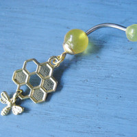 Bumble Bee Honey Comb Drop Belly Button Ring Piercing Navel Bar Barbell Gold Golden Yellow