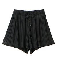 Black Tie Waist Pleated Chiffon Shorts