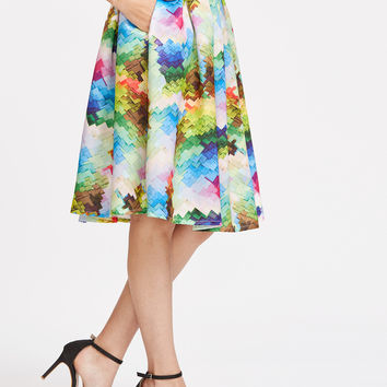 Graphic Printed Box Pleated Midi Skirt