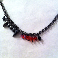 Vampire fang choker  necklace with red and black crystals halloween jewelry gothic halloween necklace