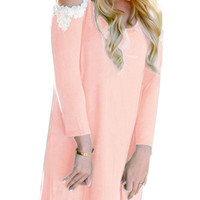 Pink Lace Cut-Out Long Sleeve Dress