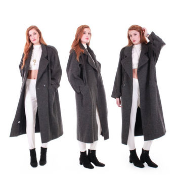 80s Vintage Long Wool & Mohair Coat Heathered Gray Minimalist Warm Winter Oversized Winter Clothing Made in the USA Women Size Large XL