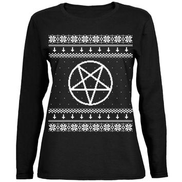 White Satanic Pentagram Ugly Christmas Sweater Black Womens Long Sleeve T-Shirt
