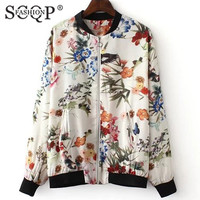 SCQP FASHION White Pockets Zippers Women Bomber Jackets Floral Printed Cotton Baseball Woman Jacket 2016 Spring Jackets Coat