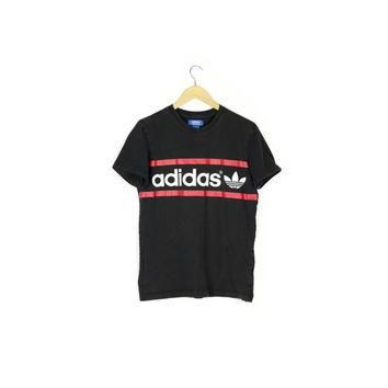 basic ADIDAS tee / black and white t-shirt / red stripes / trefoil double logo / athle