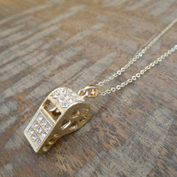 Gold Rhinestone Whistle Necklace   Candy's Cottage