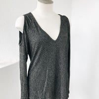 PLUS SIZE CUT OUT SHOULDER TOP- CHARCOAL