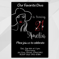 21st Birthday invitation, Diva Chalkboard Invitation, 13th 18th 21st 30th 40th, Custom Birthday invitation, etsy invite A006-3