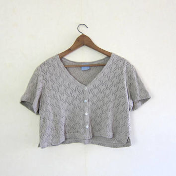 90s Crop Top Open Knit Beige Crochet Shirt Short sleeve Tshirt Cropped Top Preppy Boho Cutwork Minimal Woven Top Womens Medium Large