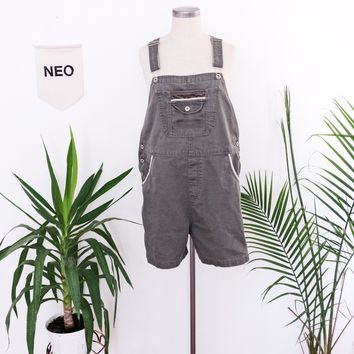 Olive Sporty Short Overalls
