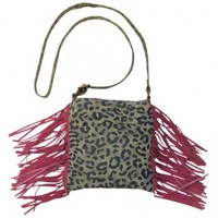 Trenditions Crossbody Leopard and Fringe Ladies Purse