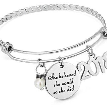 ELOI 2018 Graduation Jewelry Inspirationla Gift She Believed She Could So She Did Charm Bracelet Bangle for Women Girls by
