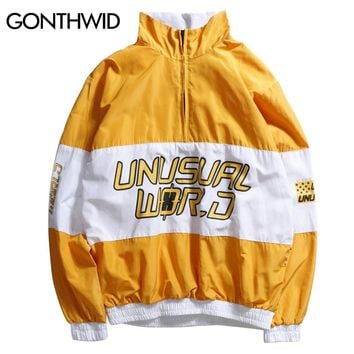 GONTHWID Color Block Patchwork Pullover Jackets Men Stand Collar Zip Up Track Casual Jacket 2017 Autumn Male Hip Hop Streetwear