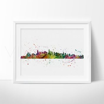 Vancouver, Canada Skyline Watercolor Art Print
