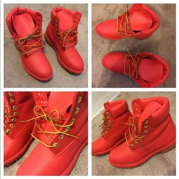 Custom RED Painted Timberland Boots- Women/ Men / Youth