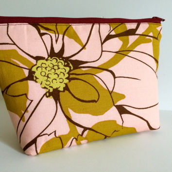 Cosmetic Bag Makeup Bag Gadget Bag in Maroon Botanical
