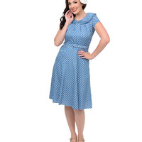 1940s Style Blue & White Polka Dot Ingrid Swing Dress