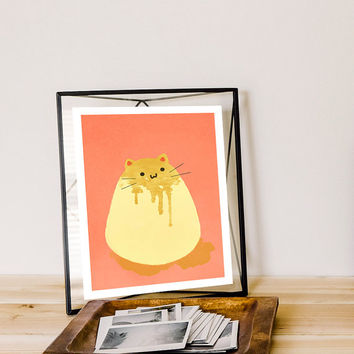 Flan Cat Art Print -Cat Foods No. 1 - 8x10 inch - Glossy Home Decor Cats Felines Kitty Kitten Prints Cute Kitchen Food Illustration Kawaii