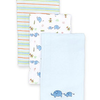 SpaSilk Baby-Boys Newborn 3 Pack 100% Cotton Burp Cloths, Blue Elephant , One Size