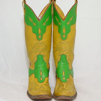 Vintage Cowboy Boots 70s Laramie Mustard Green 2 Tone 1970s Cowgirl Western Cutout Ladies Womens