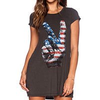Lauren Moshi Flag Peace Hand Lana Dress in Faded Black
