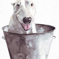 Original dog painting art bull terrier in metal bucket pets