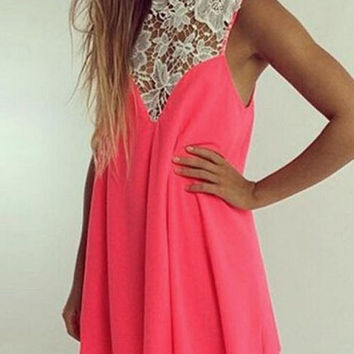 Pink Sleeveless Lace High Neckline Loose Fitting Mini Dress