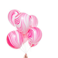 Pink Marble Party Balloons / Set of 8