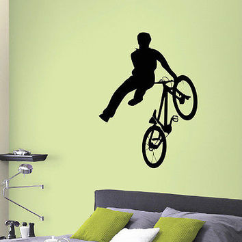 WALL DECAL VINYL STICKER SPORT BOY CYCLING BICYCLE DECOR SB186