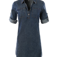 LE3NO Womens Classic Chambray Jean Denim Shirt Dress with Pockets (CLEARANCE)