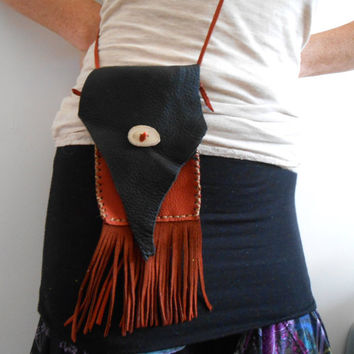 Small Cross Body Bag, Leather Purse, OOAK, Handmade, Handsewn, Native American, Hippie, Boho, Mountain Man, Gypsy, Rendezvous, Rustic