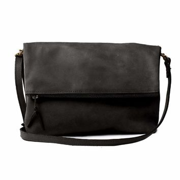 ABLE Emnet Foldover Black Crossbody Bag