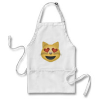 Smiling Cat Face With Heart Shaped Eyes Emoji Aprons
