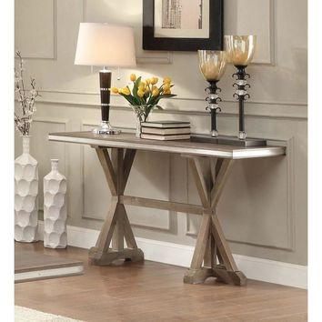 Metal Banded Wooden Rectangular Sofa Table With X-Base Double Pedestal, Brown