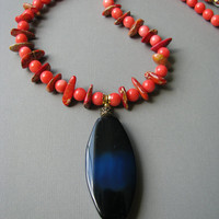Pink Coral Necklace & Blue Agate Pendant, Beaded Stone Jewelry