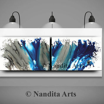 ABSTRACT PAINTING Canvas Wall Art, Large Painting, Blue Modern Art, Huge canvas art, Original ocean artwork, home decor by Nandita