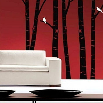 Winter Birch Trees and Birds Vinyl Wall Decal Sticker Graphic