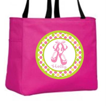 Pink Dance Slippers with Polka Dots - Personalized Hot Pink Tote Bag