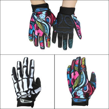 Mens Cycling Biker Racing Motorcycle Skeleton Goth Skull Bone Full Finger Gloves = 1958048900