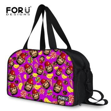 FORUDESIGNS Women Travel Bags Cute Monkey Print Large Capacity Travel Duffle Bag Canvas Folding Female Bag Lady Carry On Luggage