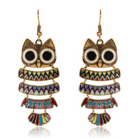 Owl Earrings Antique Bronze Enamel Dangle