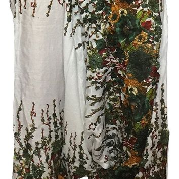 Womens Girls Smocked Waist White Floral Print Alladin Boho Hippie Yoga Pants