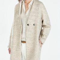 Cream Long-Sleeve Knitted Coat