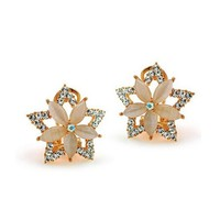 Sparkling Flowers And Stars Swarovski Crystal Earrings