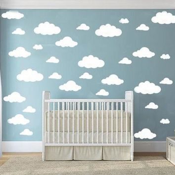 DCK9M2 31pcs/set  DIY Big Clouds 4-10 inch Wall Sticker Removable Wall Decals Vinyl Kids Room Decor Art Home Decoration Mural KW-132
