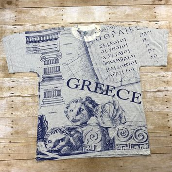 Vintage 90s Greece Striped All Over Print Tourist T-Shirt Made in Greece Mens Size Large