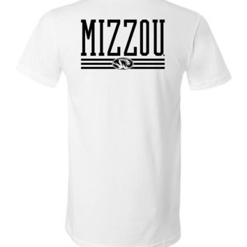 Official NCAA University of Missouri Tigers Mizzou Tigers MU Women's Unisex V-Neck T-Shirt - MO-01