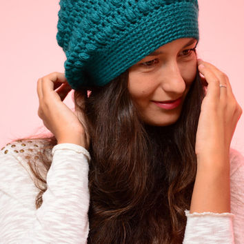 Turquoise banie hat, women hat, winter hat, autumn banie aht, winter 2016, exclusive design, SexyCrochet design, merino wool beanie hat.